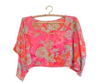 Cropped Top, Tank Top, Poncho, Kimono, Caftan, Batik, Rayon, Coral