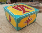 Reserved for Michele  ~Red, Yellow, Turquoise with Red Chile and Zia Symbol Tin Punch Trinket Box   ~ Tin Punch Rosary Box  ~  Tin Punch Box