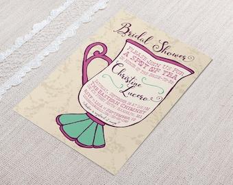 Printable Bridal Shower Baby Shower Invitation - Teacup