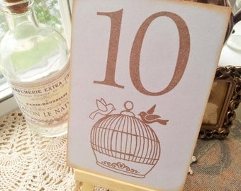Wedding Table Numbers Reception Table Numbers Love Birds Birdcage Light Gray Set of 10