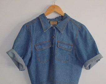 Denim Shirt Vintage Cropped Button Up
