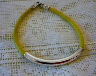 Sterling Bracelet Yellow leather 925 Mexico
