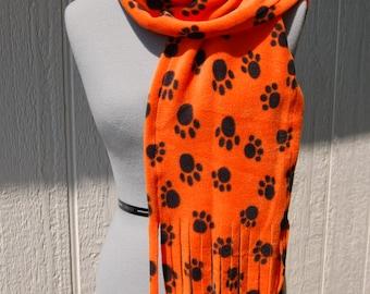 Paw Print Orange and Black Fleece Scarf
