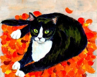 cat painting art print - A Cat On Fallen Leaf Mat - tuxedo cat lovers gift autumn color home room desk decor, A3 print A4, 8x10, 6x8