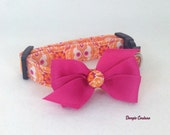 Radiant Orange and Pink Dog Collar Size XS through Large by Doogie Couture Pet Boutique