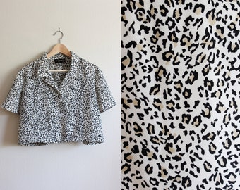 Vintage White Leopard Print Crop Top