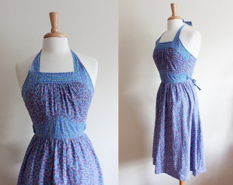 1970s Dress / Vintage Blue Calico Halter Dress