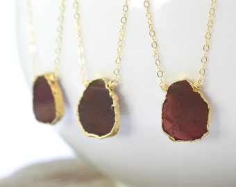 Garnet Necklace, January Birthstone, Gold Filled, Oxblood Red Raw Garnet Gold Electroplate, Rough Gemstone, Rustic Boho Gypsy