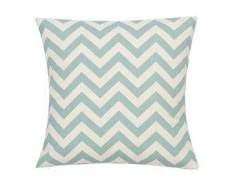 BLUE Pillow Cover.Decorator Pillow Cover.Home Decor.Large Print.CHEVRON.Slipcover. Cushion.Pillow. Premier Prints