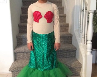 Green Mermaid Costume with tulle skirt