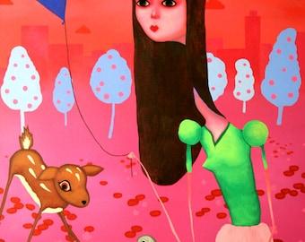 Happy Happy Joy Joy - Original Painting by Jason Smith - archival print / deer / bunny / angsty / world / happiness / environment / irony