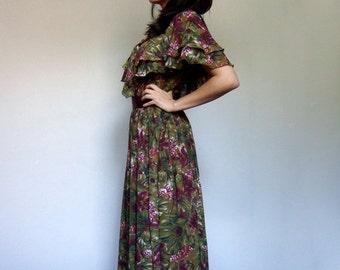 Midi Dress Women Vintage 80s Floral Print Ruffle Dress Burgundy Olive Party Dress - Medium M