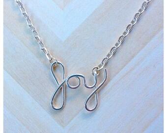 Silver Plated Joy Script Necklace