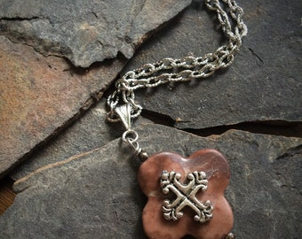 Medieval Cross Stone Necklace