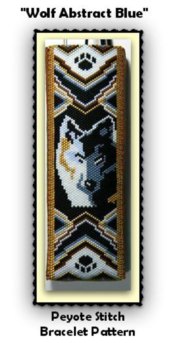 Bp Ab 146 2015 94 Wolf Abstract Blue Peyote Stitch