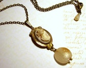 Vintage Ivory Cameo Necklace in Antique Brass