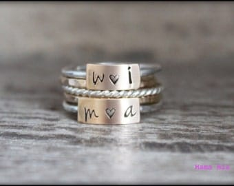 Stackable Name Rings, Hand Stamped Stacking Ring, Stacking Ring Set, Personalized Stacking Rings, Mixed Metal Ring, Mothers Rings, Mama Mia,