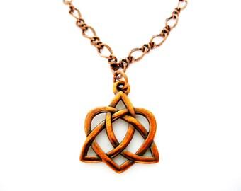 Heart IRISH COPPER Triquetra  Celtic Knot Irish TRINITY- Ireland Necklace