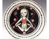 Jenny Mendes Plate - Sweet Little Kitty - Ceramic Tapas Dessert Plate
