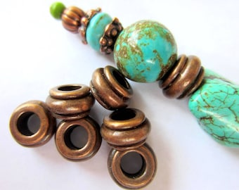 30 Antique copper beads classic or ethnic style boho chic jewelry supply 10mm large hole beads 0319y-W-2