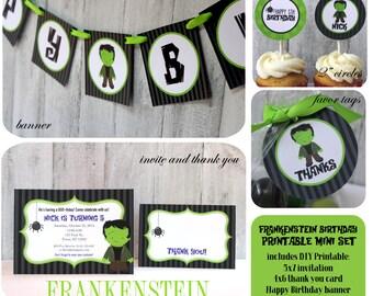 Frankenstein Birthday Printable Package, DIY