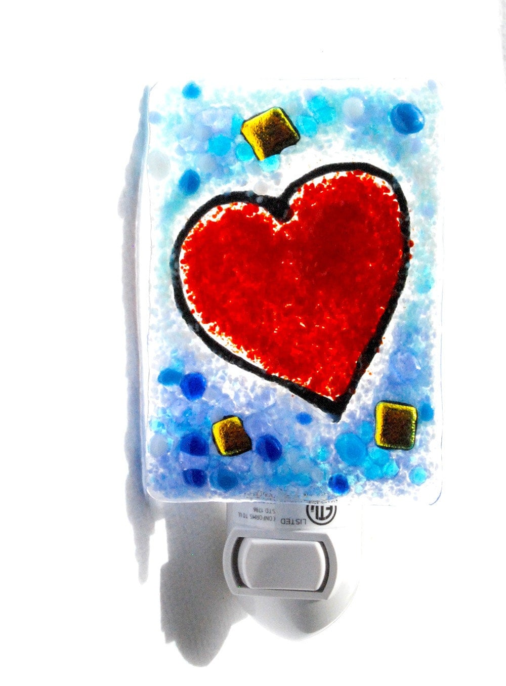 Fused Glass Wall Lights : Heart Night Light fused Glass heart wall light glass night