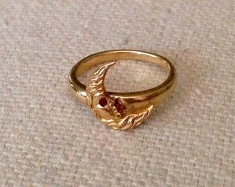 Antique Art Nouveau 14K Yellow Gold Crescent Moon Ring - Size 2