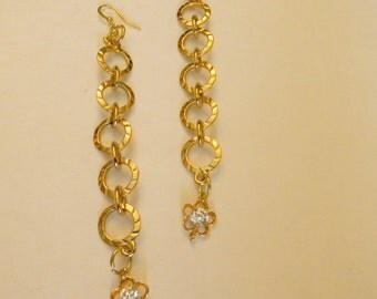 Gold Plated 18k Hammered Hoop Earrings Handmade:Round Dangle Earrings For Her-Rhinestone Flower Charms-Crystal Dangle Earrings-GP Earrings