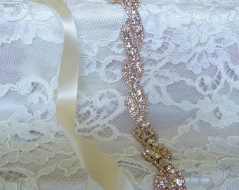 Rose Gold Crystal Rhinestone Bridal Sash,Wedding sash,Bridal Accessories,Bridal Belt,Ribbon Sash,Style # 7