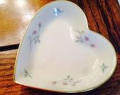 Lenox heart shape vintage dish, trinket heart shape dish, lenox china vintage floral heart dish