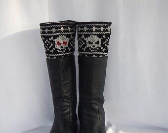 Skull boot cuffs/ skull leg warmers/ black boot cuffs/ knitted boot cuffs/ skull lovers