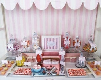 Canopy for candy stand, childrens party, red and white, pink and white stripes, other colors available.