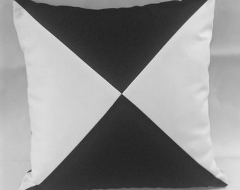 Black and white color block, pillow sham, pillow cover, cotton canvas diagonal
