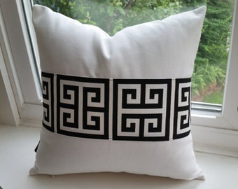 Pair Decorative throw pillow covers sham with Greek key fabric trim black and white cotton canvas