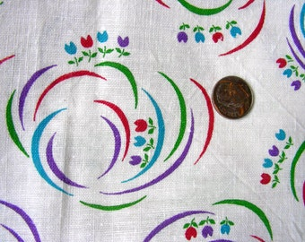 SALE:..Vintage NOVELTY Feedsack Feed Sack Cotton Fabric - Beautiful Tiny Tiny Tulips and Swirls of Ribbons   - 36 x 42