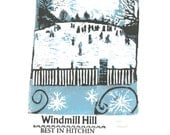 Windmill Hill in Winter- Lino and Letterpress Print- Poster