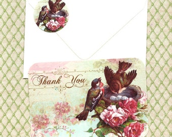 Note Cards, Nesting Birds, Bird Note Cards, Bird Lover, Thank You Cards