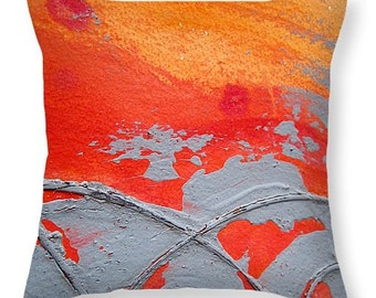 Throw Pillow, Artsy Throw Pillow , Orange and Gray Design Pillow ,abstract modern look pillow , Sofa, Bed ,Chair, Couch, Home Decor