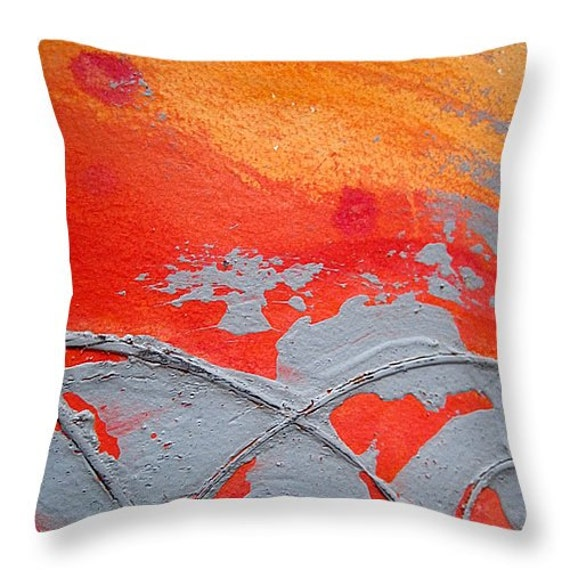 Modern Orange Pillow : Throw Pillow Artsy Throw Pillow Orange and Gray Design