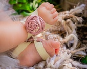 Cream Dusty Rose Pink Barefoot Sandals, Baby Stretchy Shoes, Satin Rosette, Glass Pearl Beads, Off White First Birthday Outfit Newborn Gift