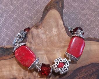 603 Southwest Red Stone Bracelet