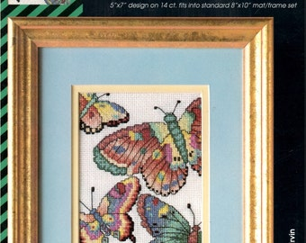 Flutterby 4 Colorful Fantasy Butterflies Counted Cross Stitch Embroidery Craft Pattern Pamphlet VCS-20031