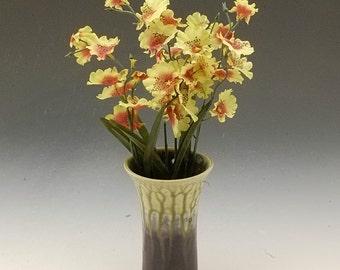 Wall Pocket Handmade Porcelain Pottery Flower Vase Eggplant Purple Fern Green by Mark Hudak