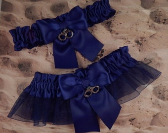 Policeman Navy Blue Satin Navy Organza Handcuff Charm Wedding Bridal Garter Toss Set