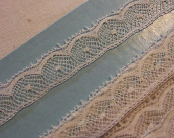 French Cotton Lace Ecru Edging - Narrow Lace Edging from France - 3/8 inch Ecru Cotton Lace  for Heirloom Sewing