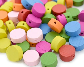 Painted  Wooden Beads, Round Beads,  100 pcs, 13x6mm, 1 mm Hole,  Wood  Beads -B527