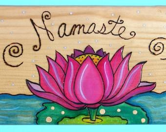 Pyrography wood sign - Namaste