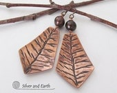 Nature Earrings, Copper Earrings with Twig Design & Pearls, Unique Nature Jewelry, Artisan Handmade Jewelry, Copper Anniversary Gift for Her