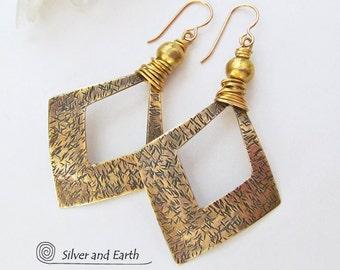 Brass Hoop Earrings, Large Gold Hoop Earrings, Artisan Handmade Metalwork Jewelry, Bold Contemporary Boho Chic Modern Tribal Metal Earrings