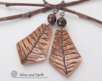 Copper Earrings with Twig Design & Pearls, Nature Earrings, Metalwork, Artisan Handmade Nature Jewelry, Copper Anniversary Gift for Her